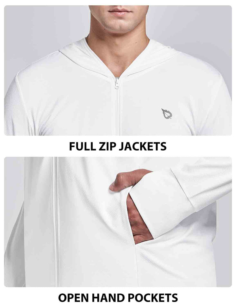 Baleaf Men UPF 50+ Full Zip Cooling Shirt white details