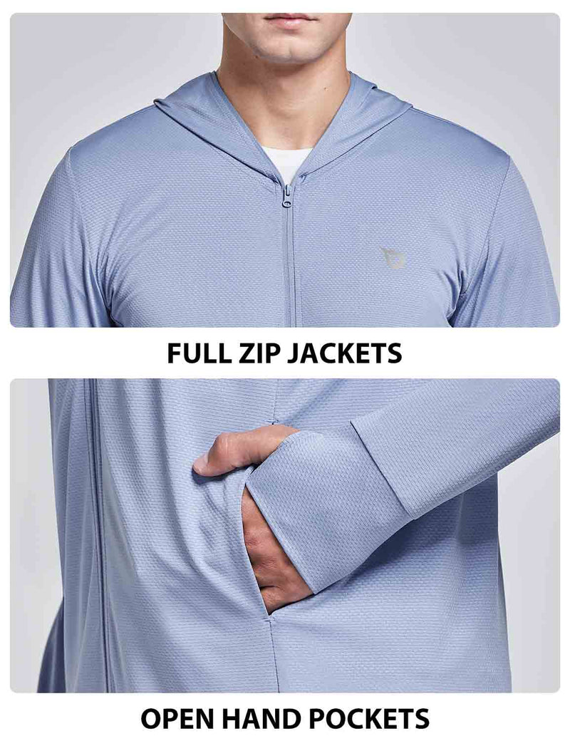 Baleaf Men UPF 50+ Full Zip Cooling Shirt Blue details