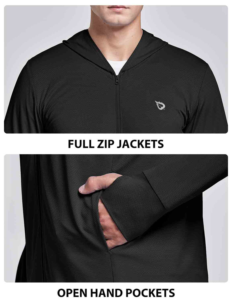 Baleaf Men UPF 50+ Full Zip Cooling Shirt Black details