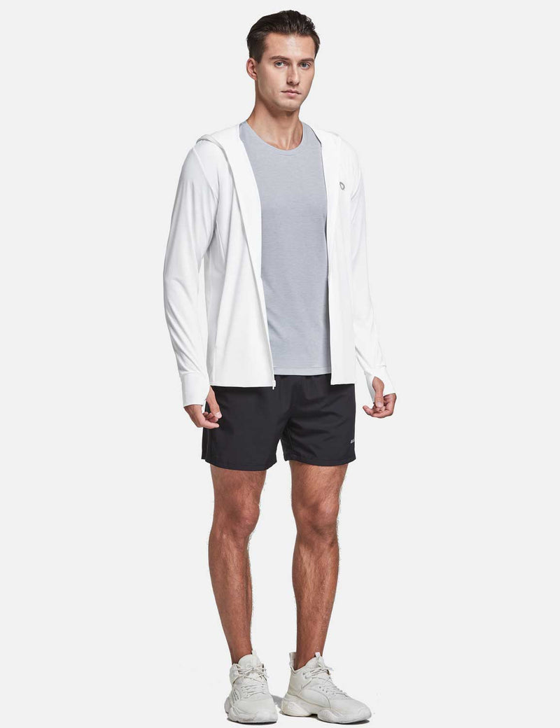 Baleaf Men UPF 50+ Full Zip Cooling Shirt Blue size chart