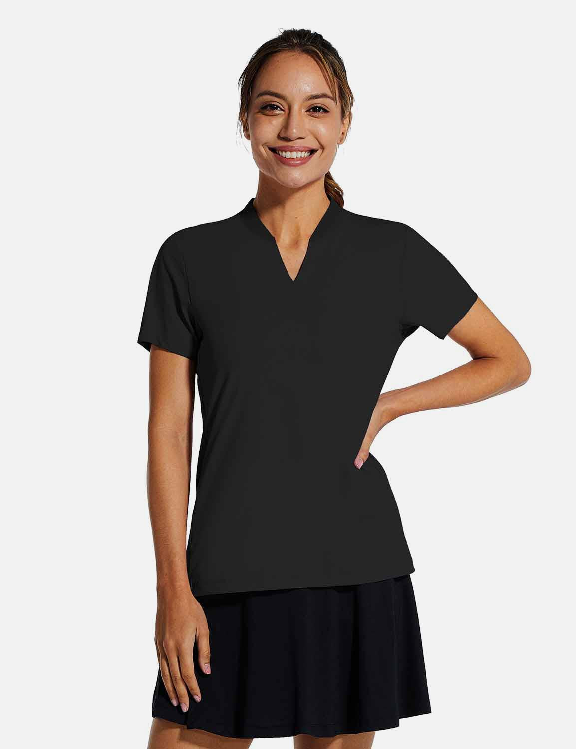 Baleaf Womens UPF50+ Short Sleeved Collarless V Neck Shirts Black front