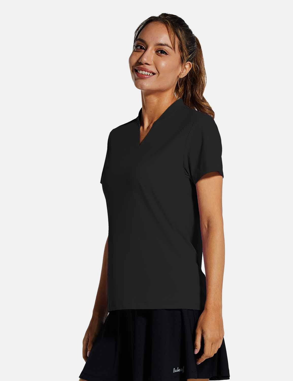 Baleaf Womens UPF50+ Short Sleeved Collarless V Neck Shirts Black side