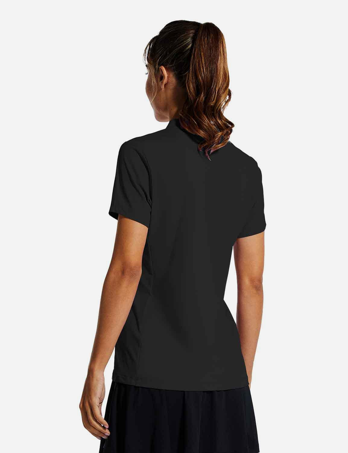Baleaf Womens UPF50+ Short Sleeved Collarless V Neck Shirts Black back