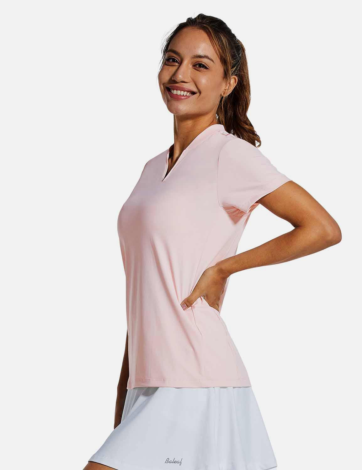 Baleaf Womens UPF50+ Short Sleeved Collarless V Neck Shirts Pink side