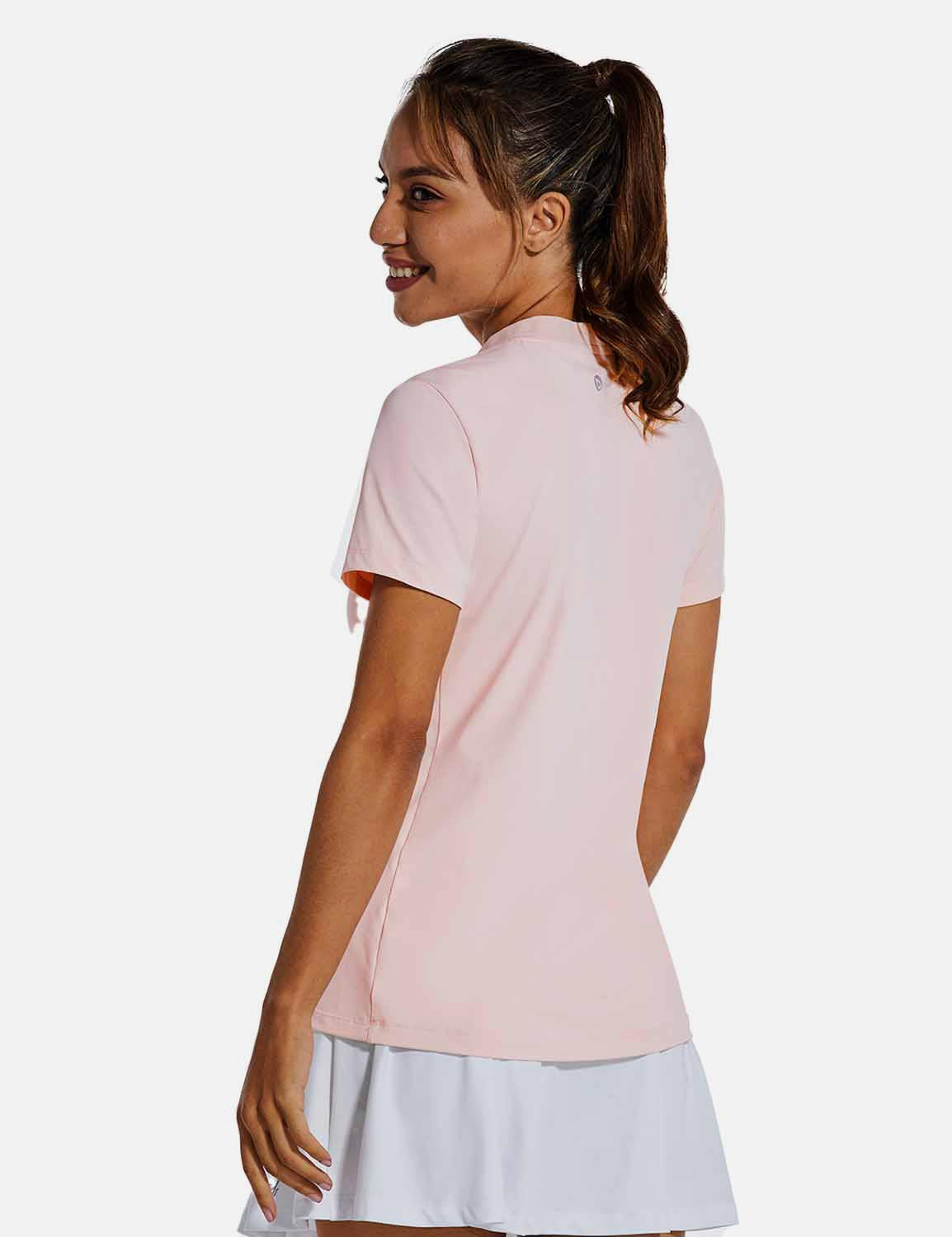 Baleaf Womens UPF50+ Short Sleeved Collarless V Neck Shirts Pink back