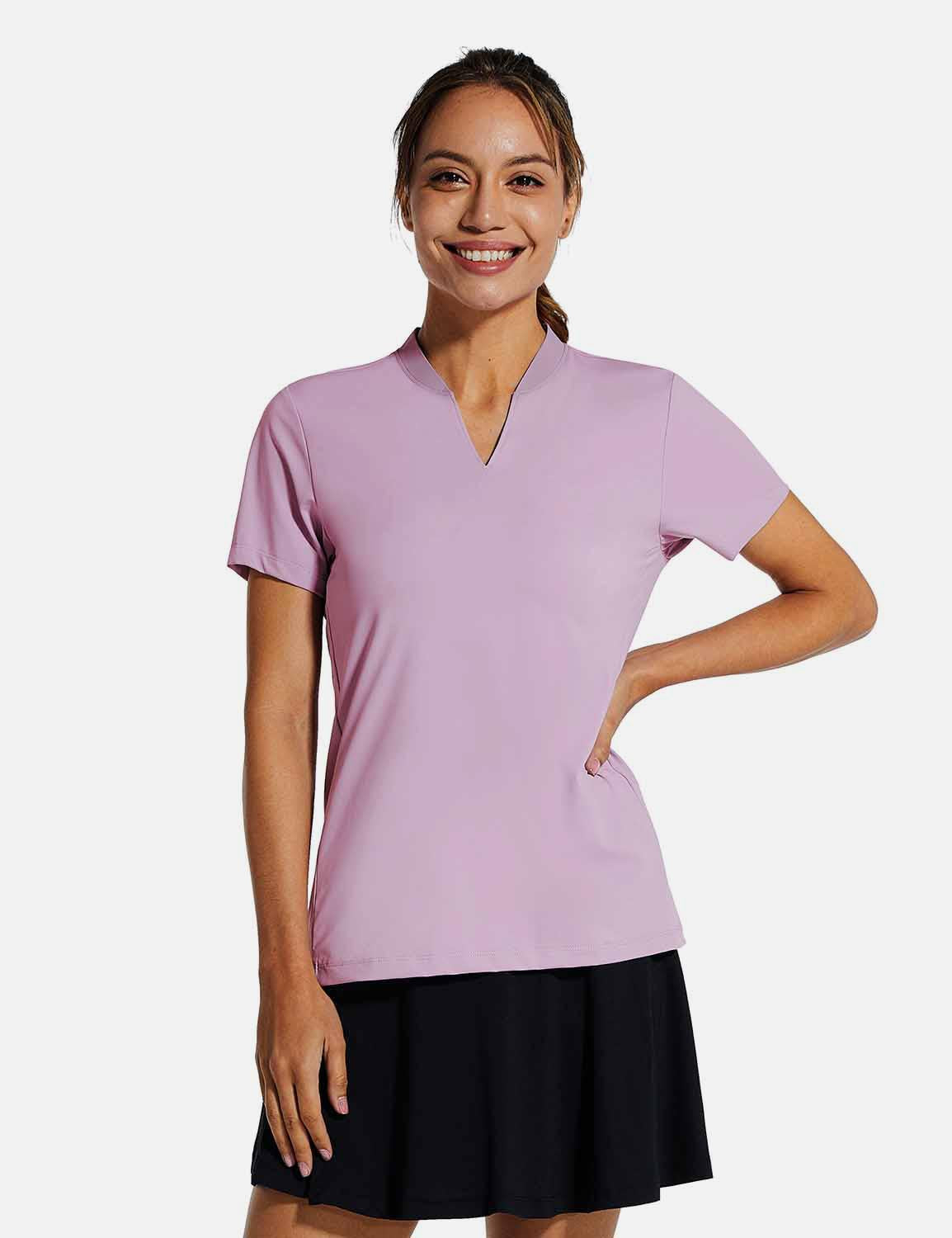 Baleaf Womens UPF50+ Short Sleeved Collarless V Neck Shirts Purple front