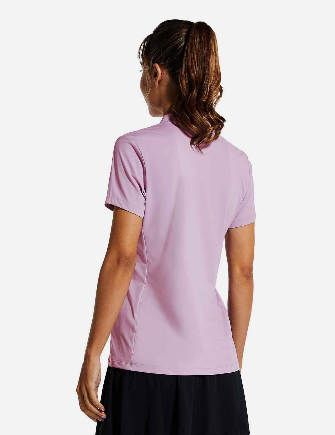 Baleaf Womens UPF50+ Short Sleeved Collarless V Neck Shirts Purple back