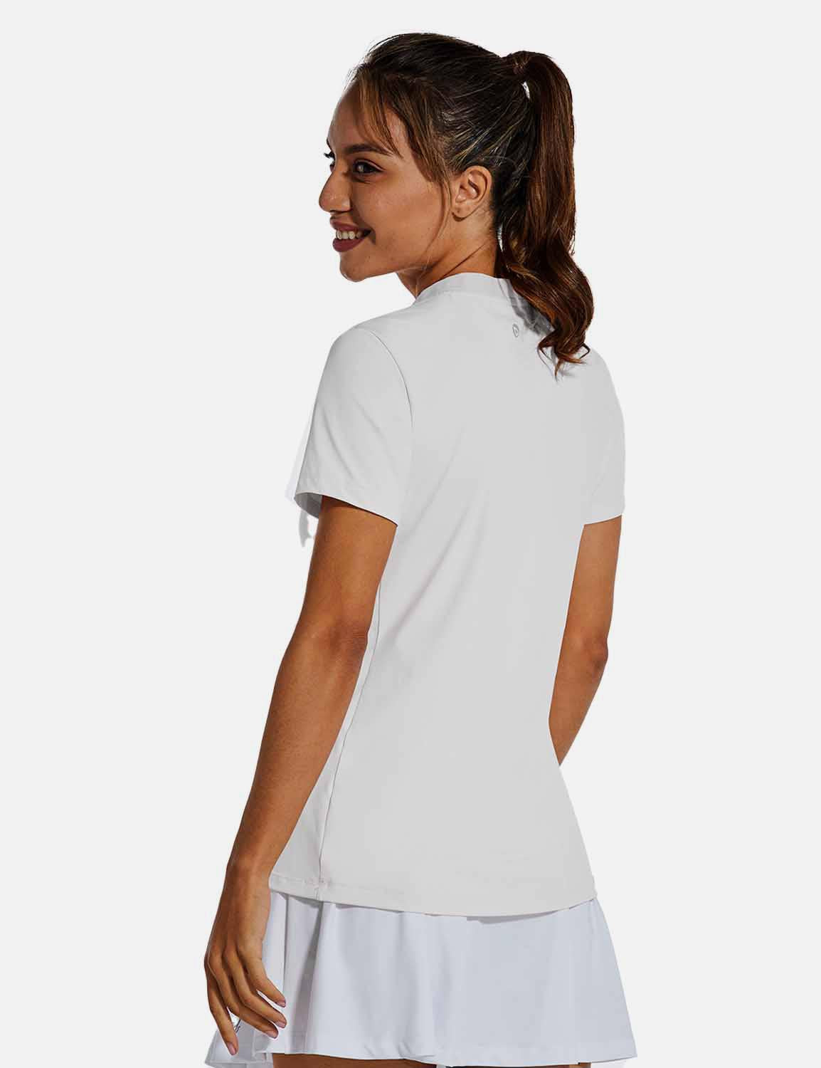 Baleaf Womens UPF50+ Short Sleeved Collarless V Neck Shirts White back