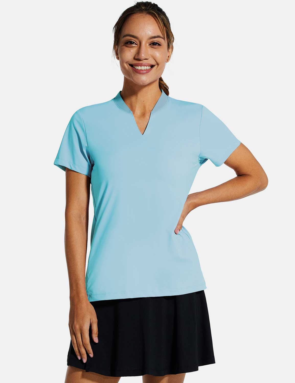 Baleaf Womens UPF50+ Short Sleeved Collarless V Neck Shirts Size Chart