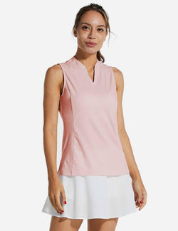 Baleaf Womens UPF40+ Quick-Dry Collarless V Neck Tank Top Pink front