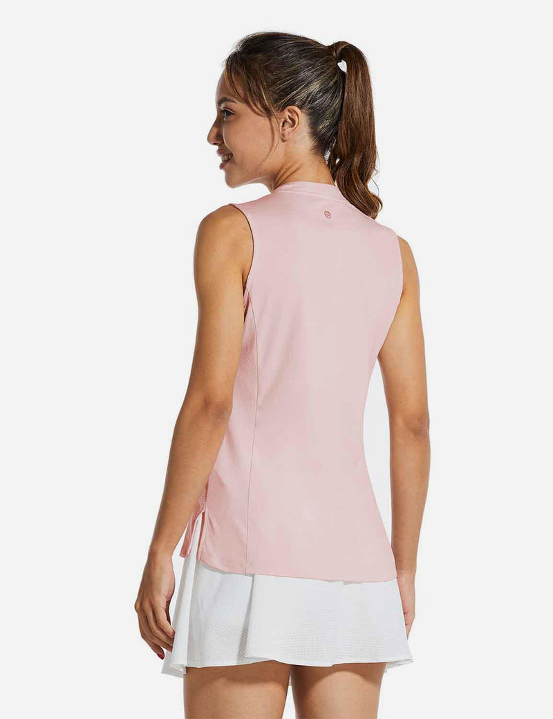 Baleaf Womens UPF40+ Quick-Dry Collarless V Neck Tank Top Pink back