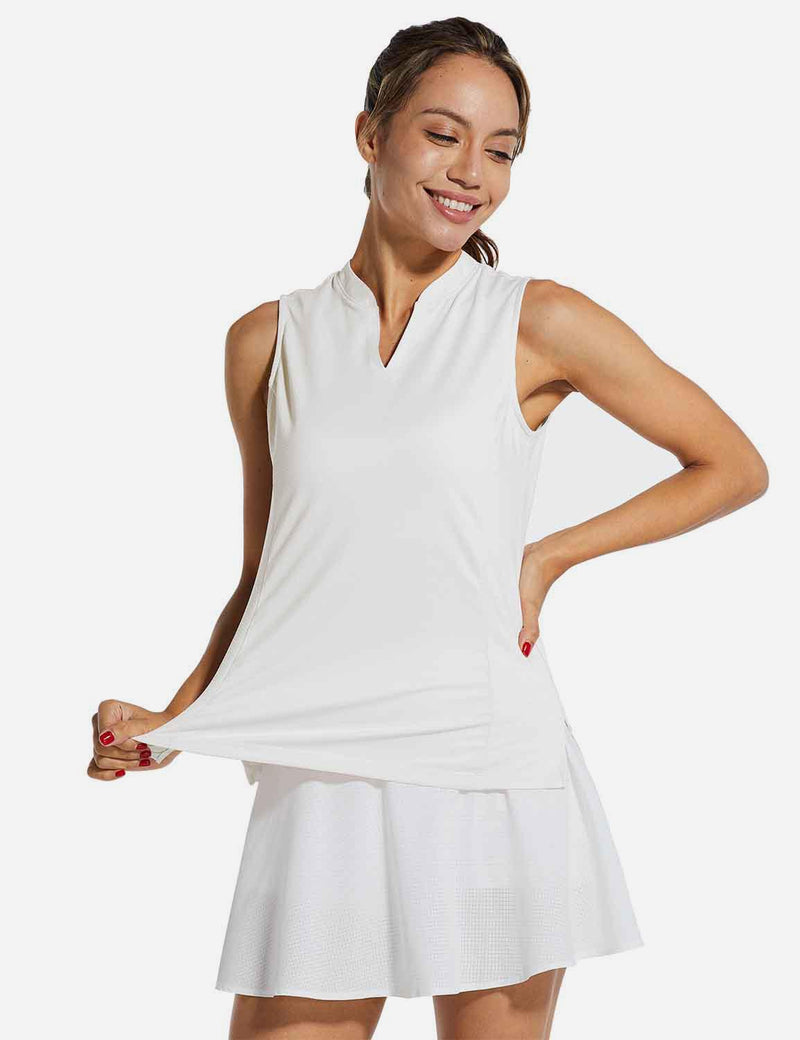 Baleaf Womens UPF40+ Quick-Dry Collarless V Neck Tank Top White front
