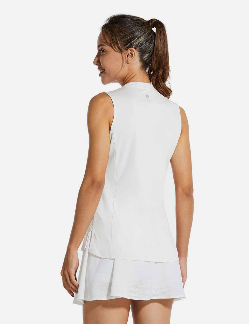 Baleaf Womens UPF40+ Quick-Dry Collarless V Neck Tank Top White back