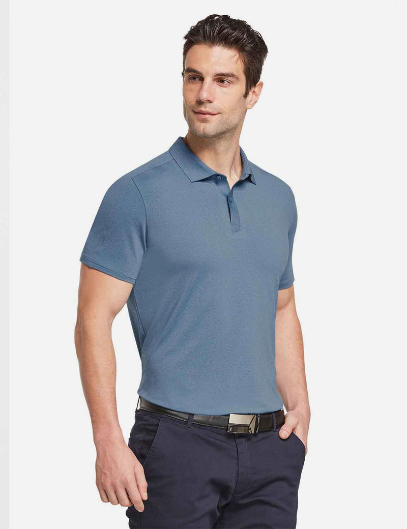 Baleaf mens Baleaf Men's UPF 50+ Golf Polo Short Sleeve Shirts Blue side