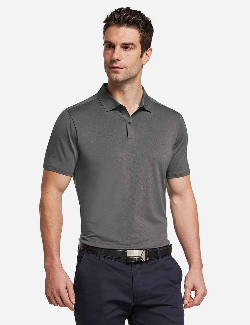Baleaf mens Baleaf Men's UPF 50+ Golf Polo Short Sleeve Shirts Gray front