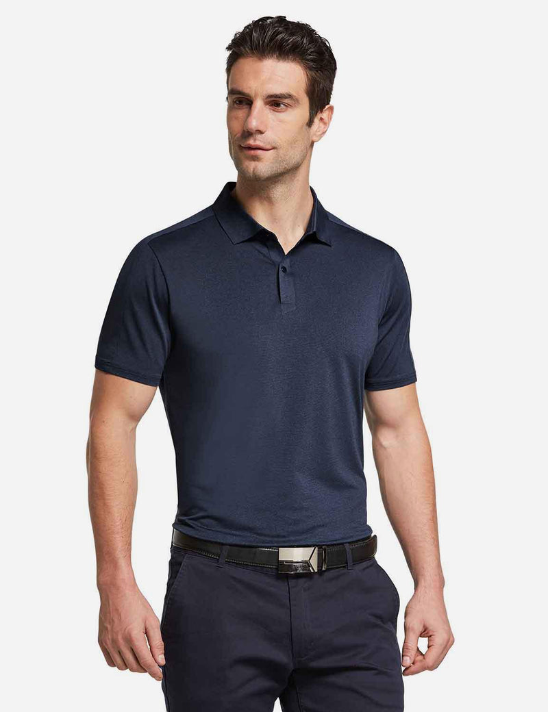 Baleaf mens Baleaf Men's UPF 50+ Golf Polo Short Sleeve Shirts Navy front