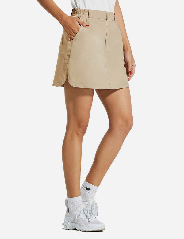 Baleaf Womens UPF50+ 15'' 2-in-1 Golf Skorts w Zippered Pockets Khaki side