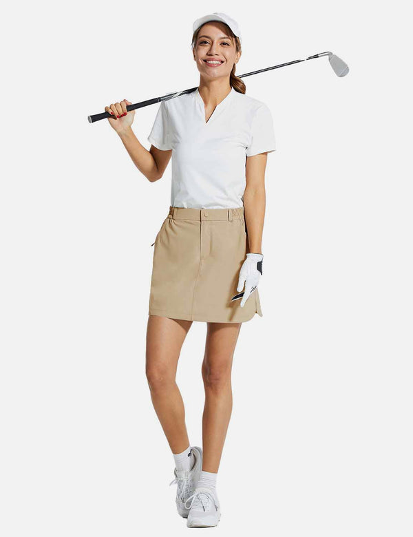 Baleaf Womens UPF50+ 15'' 2-in-1 Golf Skorts w Zippered Pockets Khaki full