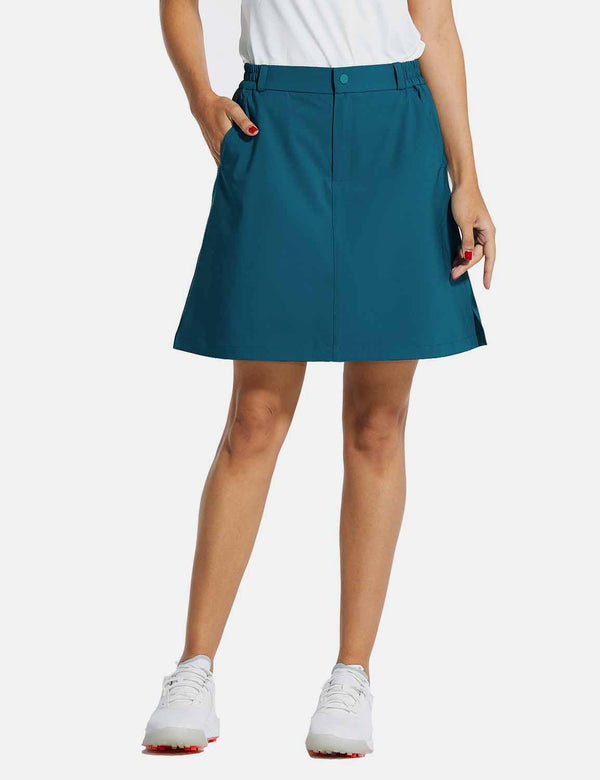 Baleaf Womens UPF 50+ High Rise Waterproof Flared Skirt w Zippered Pockets Blue front