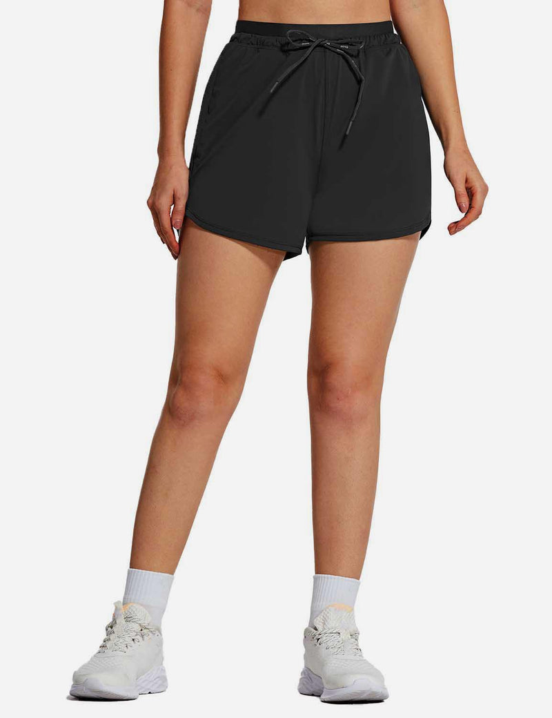 Baleaf Womens UPF50+ 4'' Quick Dry Outdoor Zippered Pocketed Shorts Black front