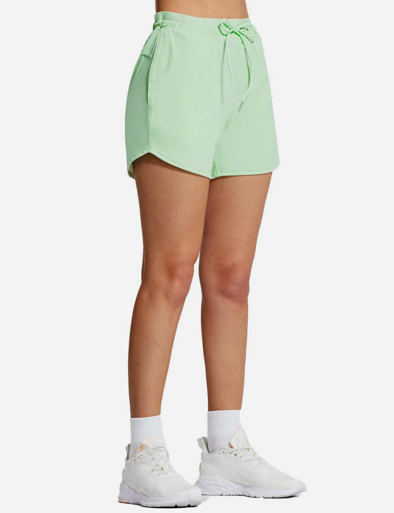 Baleaf Womens UPF50+ 4'' Quick Dry Outdoor Zippered Pocketed Shorts Light Green side