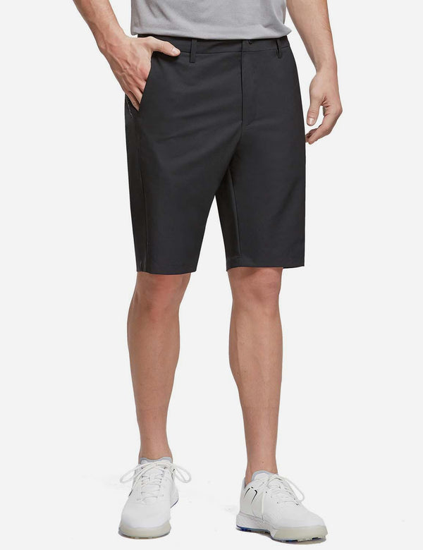 "Baleaf Men's 10"" Golf Shorts with Zipper Pockets Black Front"