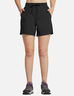 Baleaf Womens UPF50+ 5'' Quick Dry Fishing Pocketed Shorts Black front