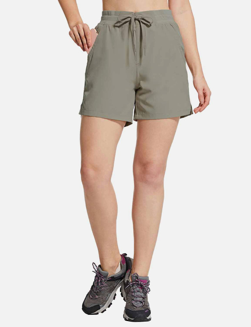 Baleaf Womens UPF50+ 5'' Quick Dry Fishing Pocketed Shorts Gray front