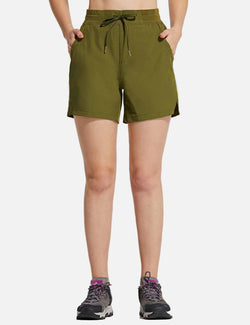 Baleaf Womens UPF50+ 5'' Quick Dry Fishing Pocketed Shorts Green front