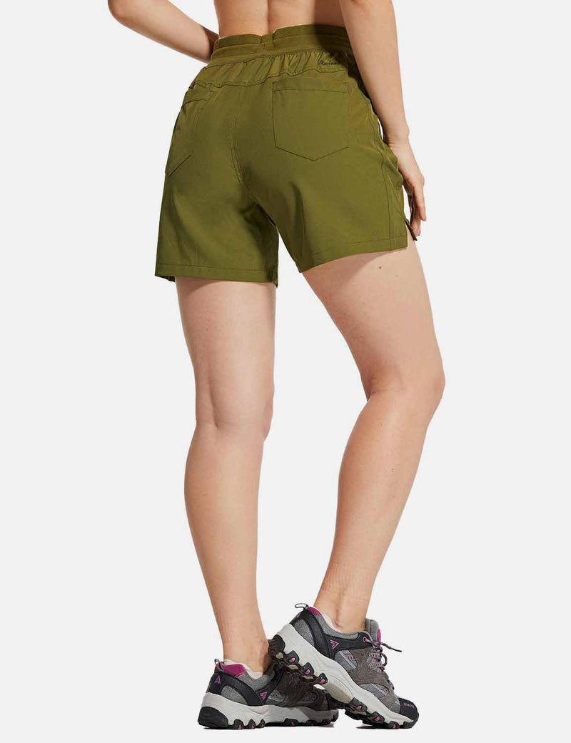 Baleaf Womens UPF50+ 5'' Quick Dry Fishing Pocketed Shorts Green back