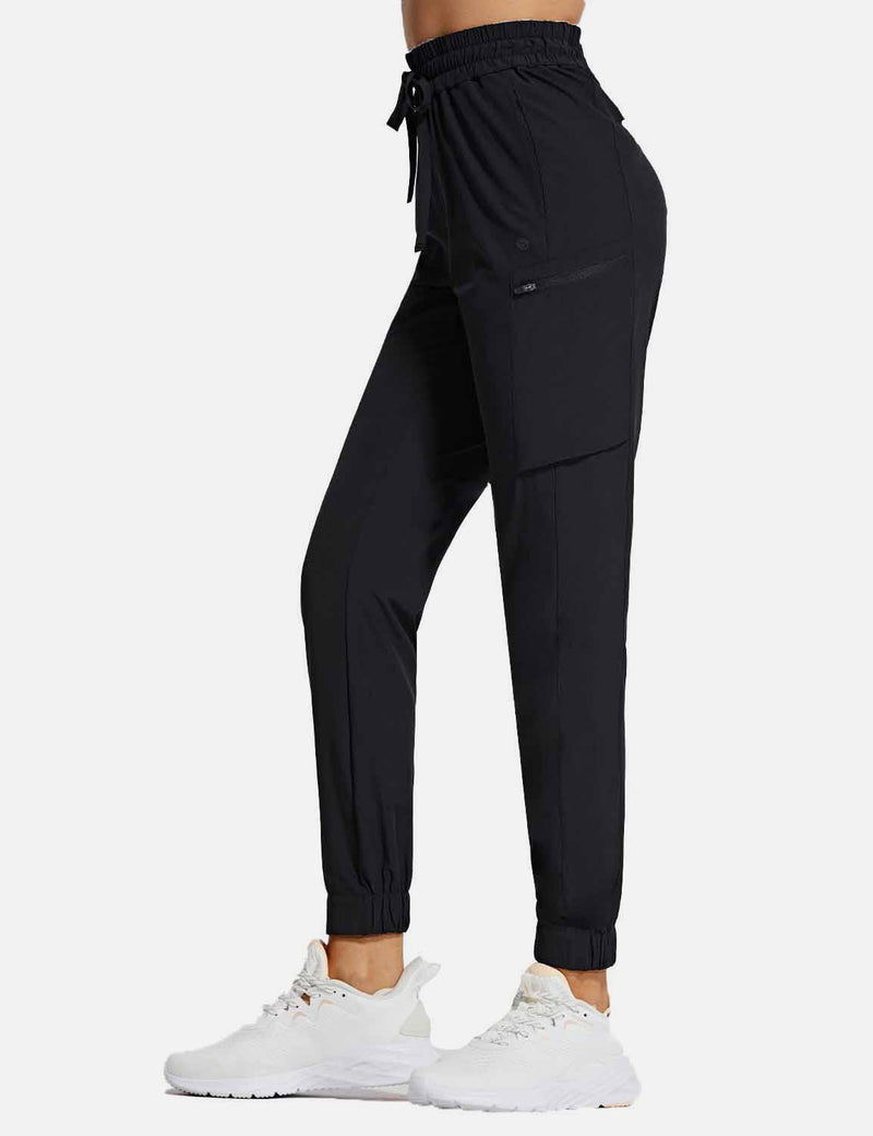 Baleaf Womens UPF50+ Tapered Hiking Cargo Zippered Pocketed Pants Black side
