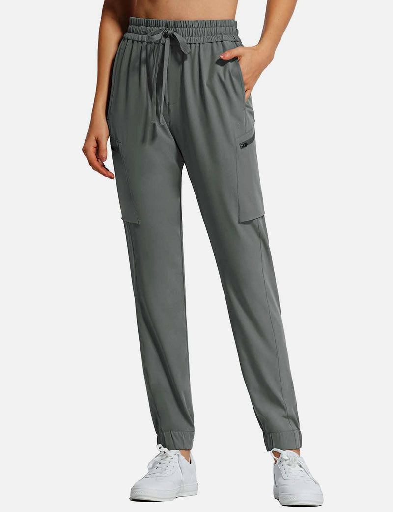 Baleaf Womens UPF50+ Tapered Hiking Cargo Zippered Pocketed Pants Gray front