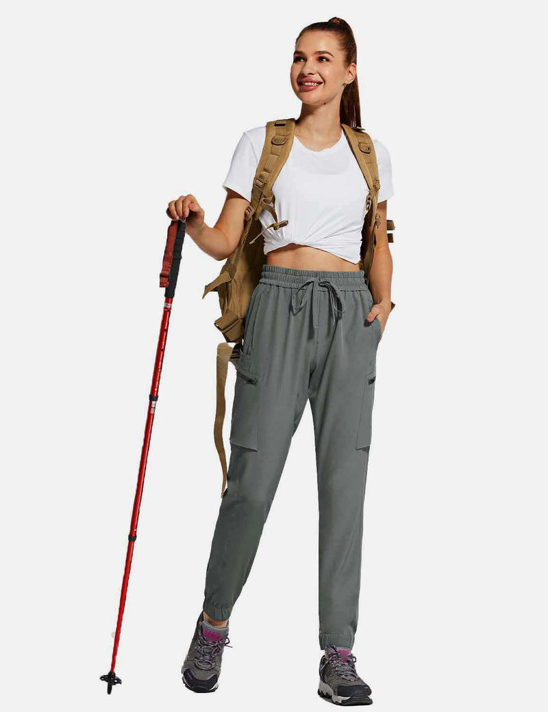 Baleaf Womens UPF50+ Tapered Hiking Cargo Zippered Pocketed Pants Gray full
