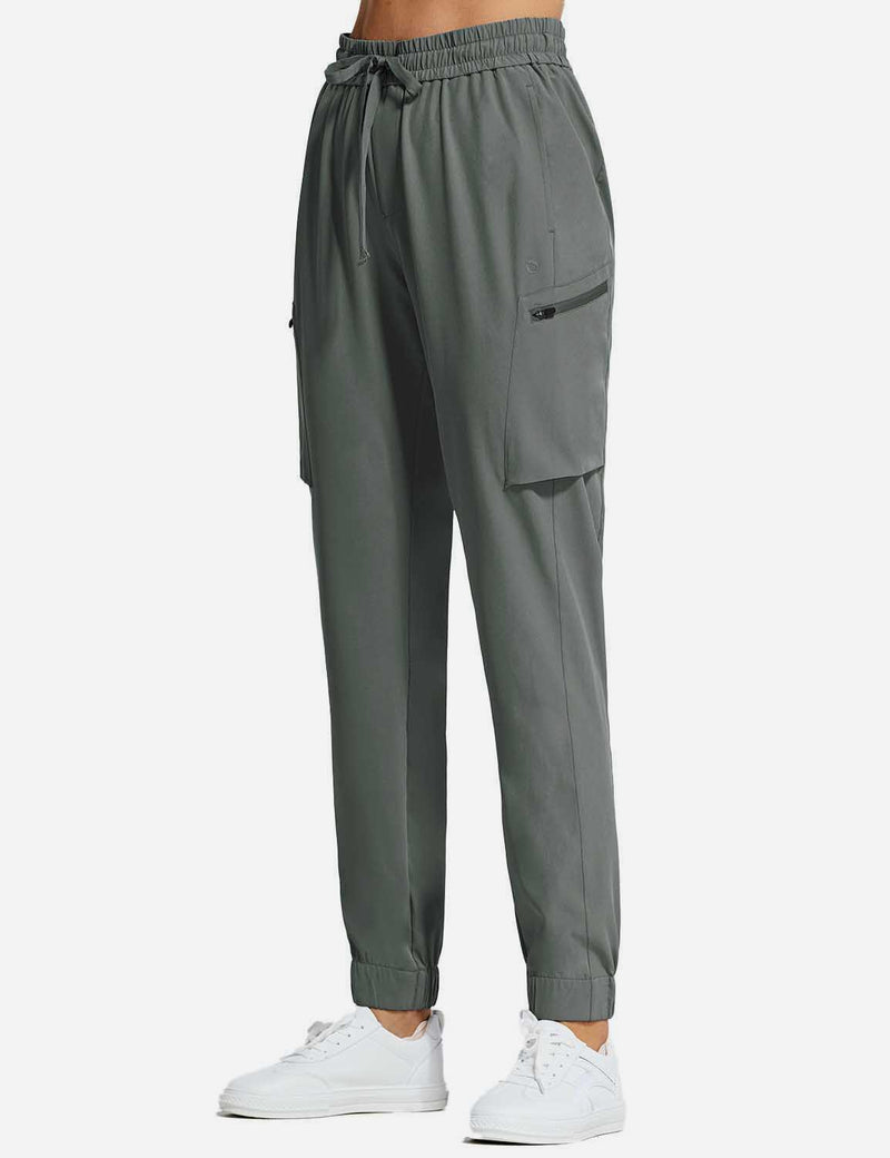 Baleaf Womens UPF50+ Tapered Hiking Cargo Zippered Pocketed Pants Gray side