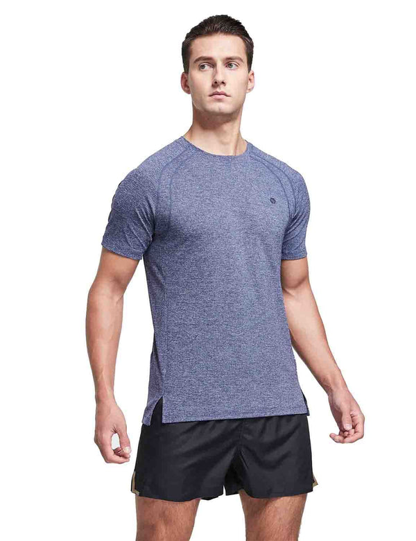 Quick Dry Workout Short Sleeve T-Shirt Blue front