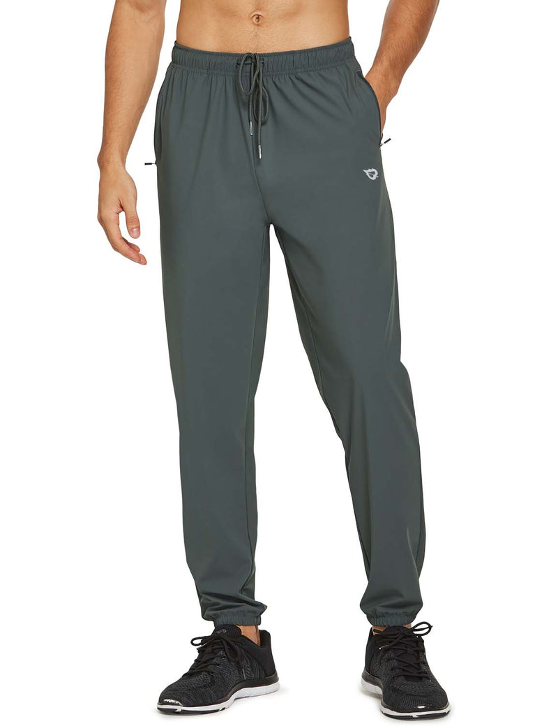 Baleaf Mens Lightweight Nylon Quick Dry Cuffed & Pocketed Weekend Bottoms Gray front