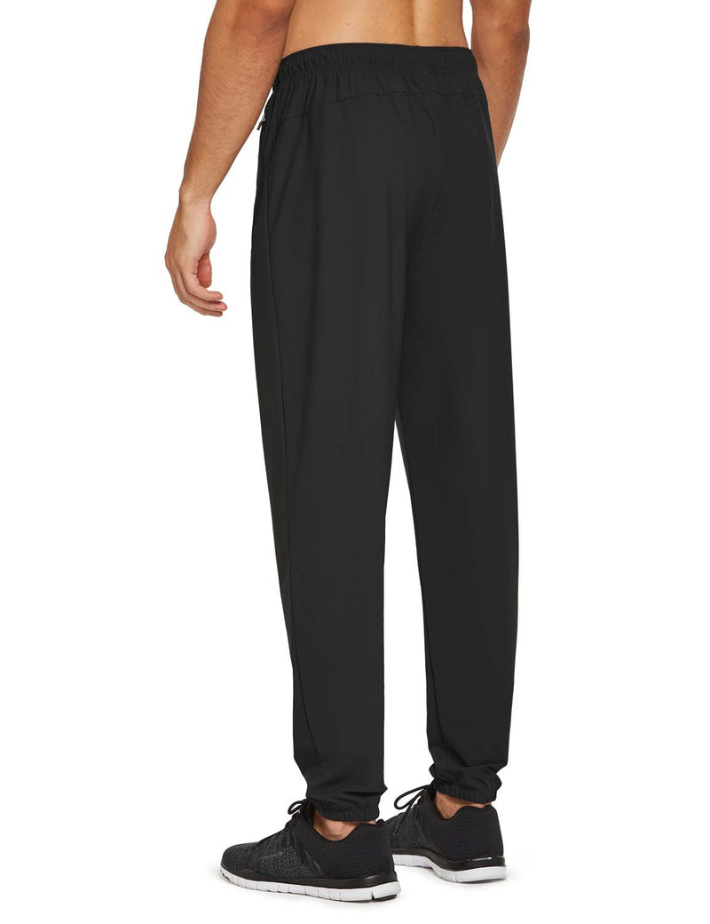 Baleaf Mens Lightweight Nylon Quick Dry Cuffed & Pocketed Weekend Bottoms Black back