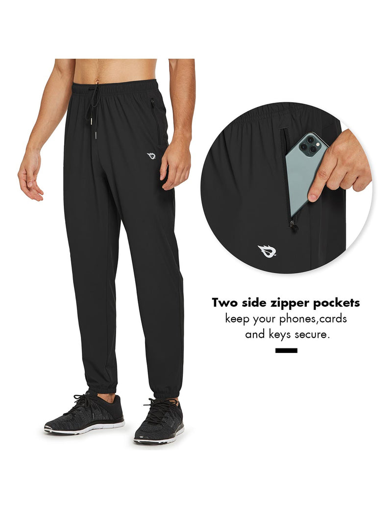 Baleaf Mens Lightweight Nylon Quick Dry Cuffed & Pocketed Weekend Pants Black Details