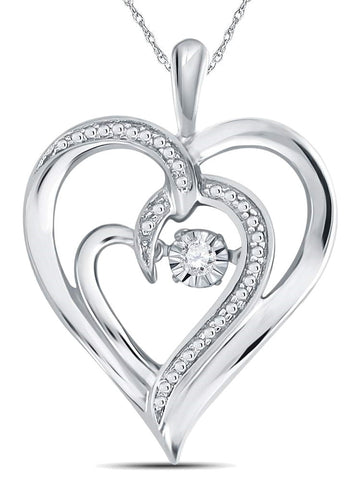 Diamond Heart Twinkle Necklace .03 CTW with Adjustable Length Chain
