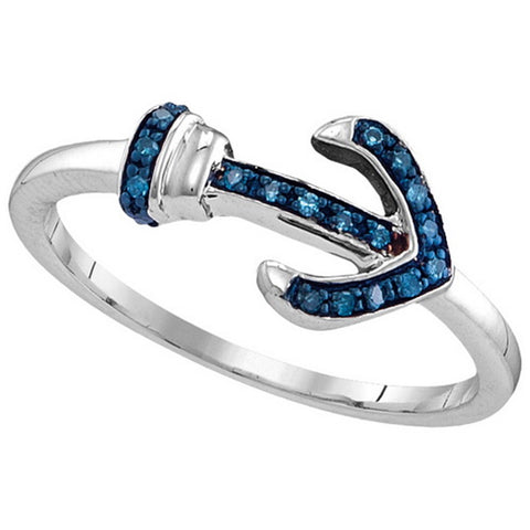 Anchor Ring with Genuine Blue Diamonds 1/20 CTW Rhodium on Sterling Silver 19 Diamonds, 8