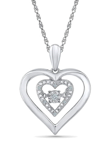 Twinkle Diamond Necklace Double Heart 0.03 CTW 7 Diamonds with Adjustable Chain