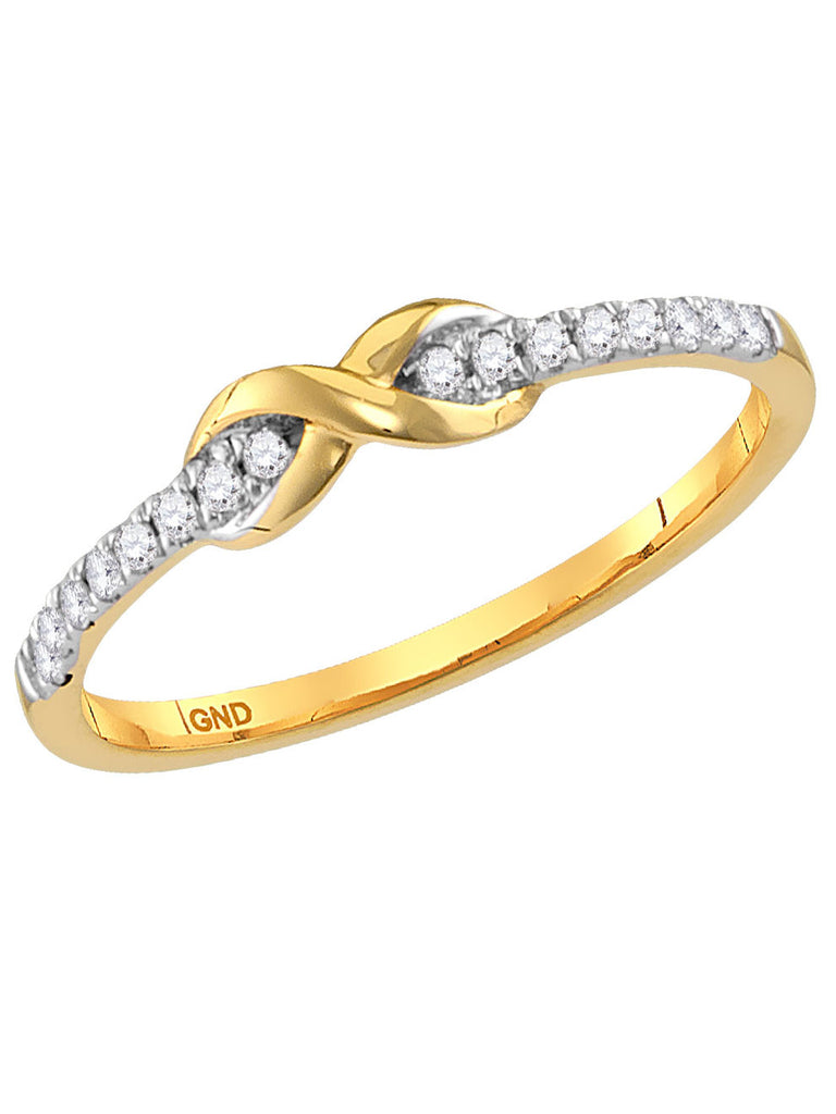 10k Yellow Gold Diamond Stackable Band Ring .11 CTW with Infinity Knot