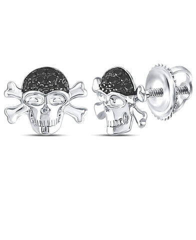 Black Diamond Skull and Crossbones Pirate Stud Earrings Rhodium on Sterling Silver