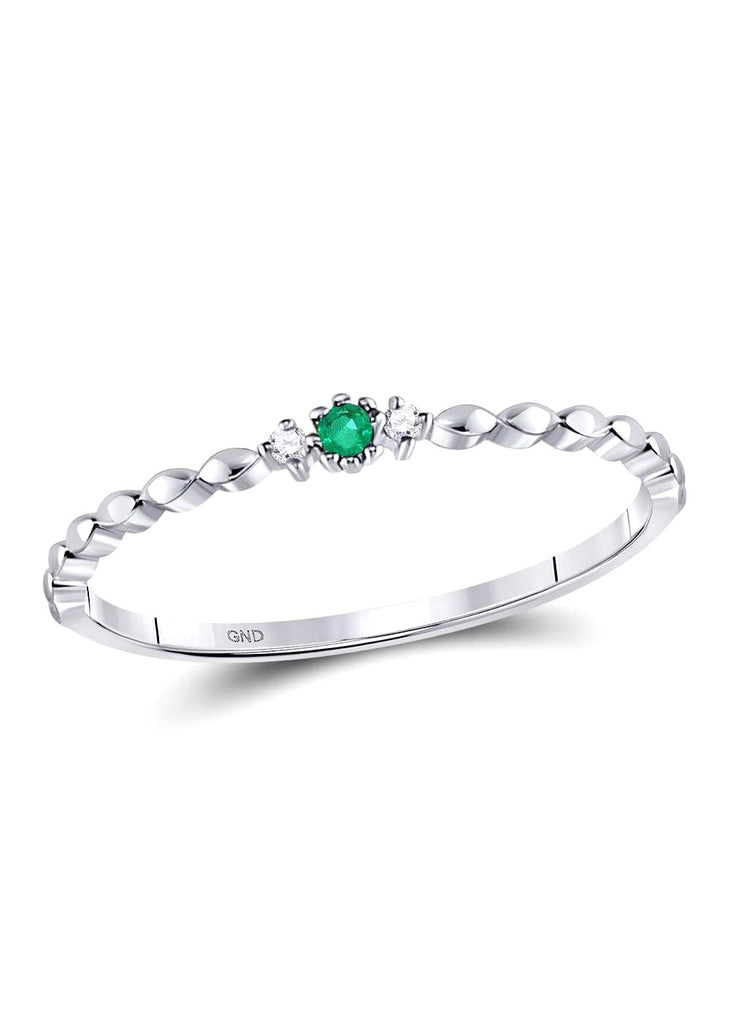 10k White Gold Emerald and Diamond Stackable Ring .03 CTW