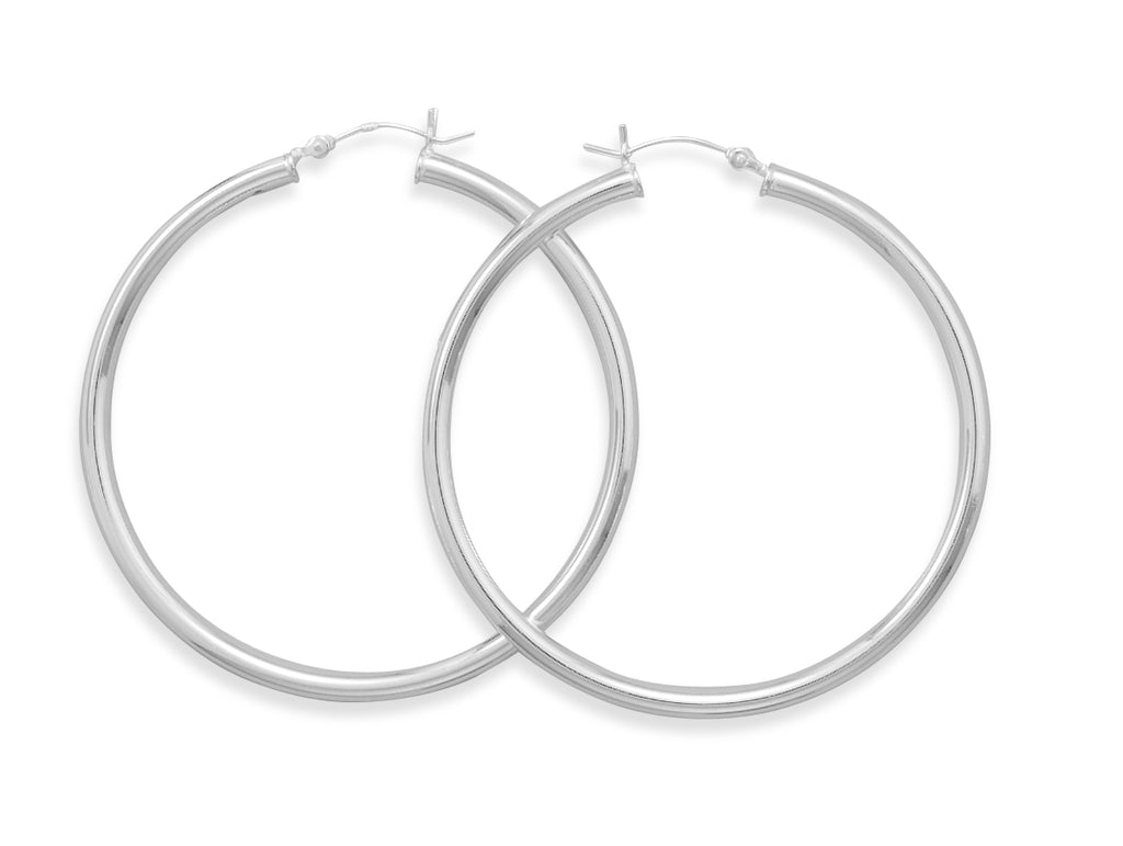 Extra Extra Large 50mm x 3mm Round Tube Sterling Silver Hoop Earrings