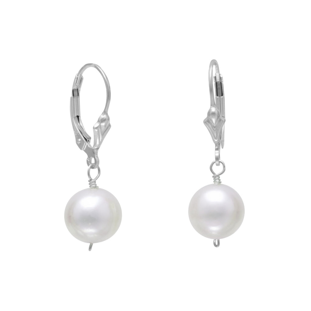 White 9mm Cultured Freshwater Pearl with Fleur-di-lis Lever Back Earrings Sterling Silver