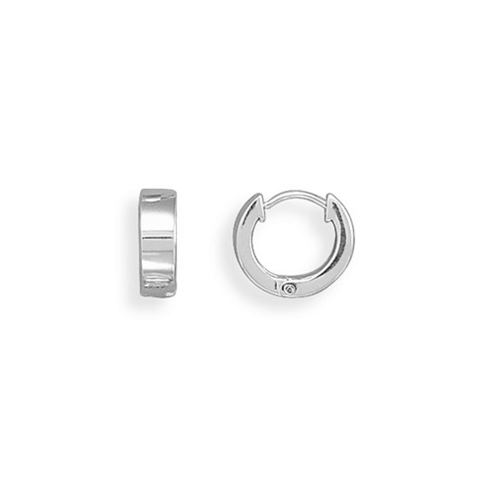 13mm Hinged Huggies Sterling Silver Hoop Earrings Small Square Polished