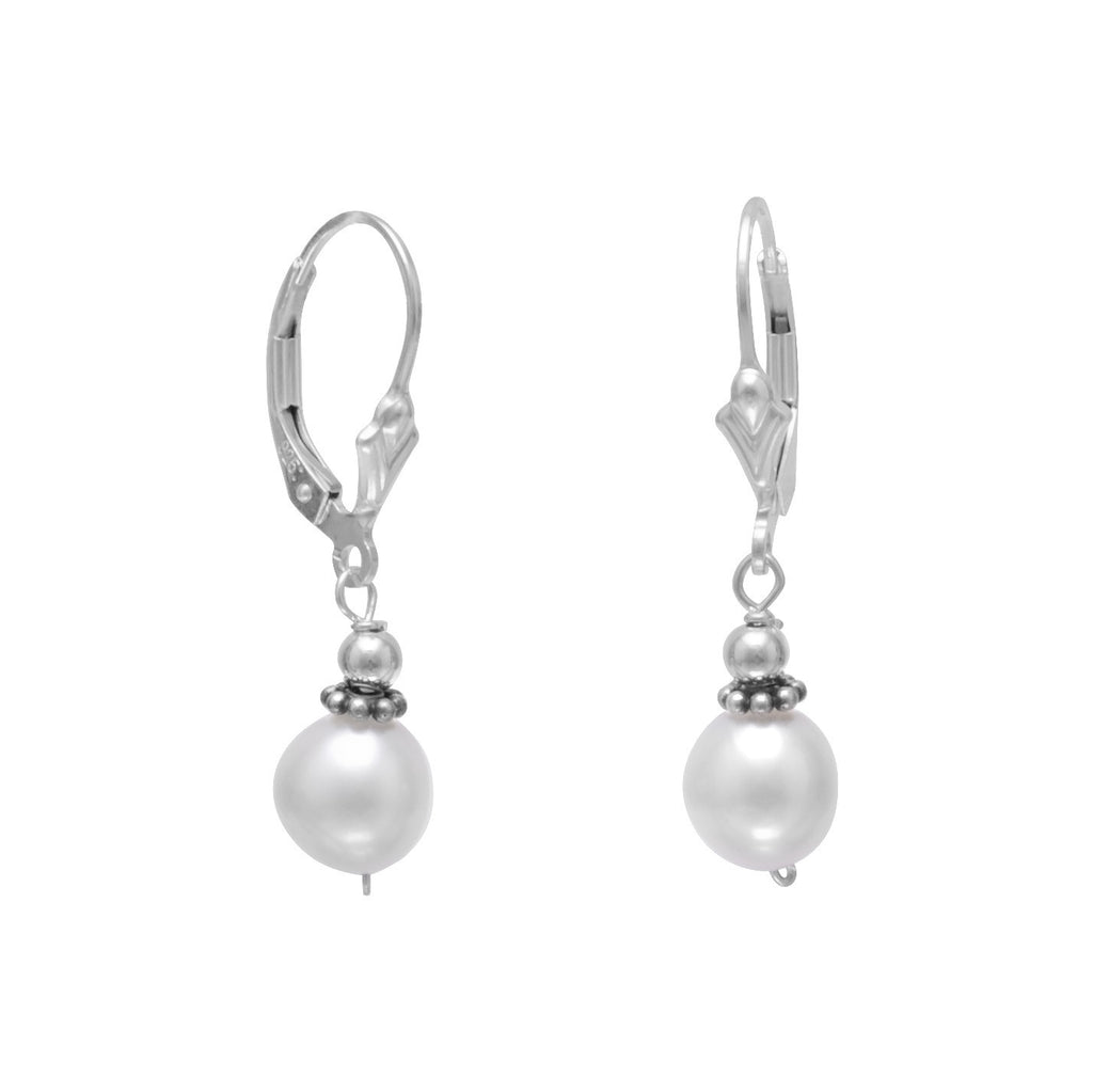 White Cultured Freshwater 8mm Pearl with Bali Bead Lever Earrings