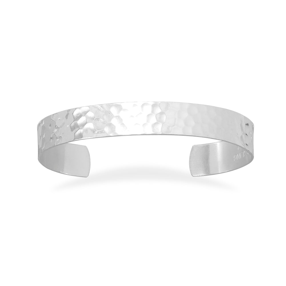 Cuff Bracelet Hammered Sterling Silver 9.5mm Wide