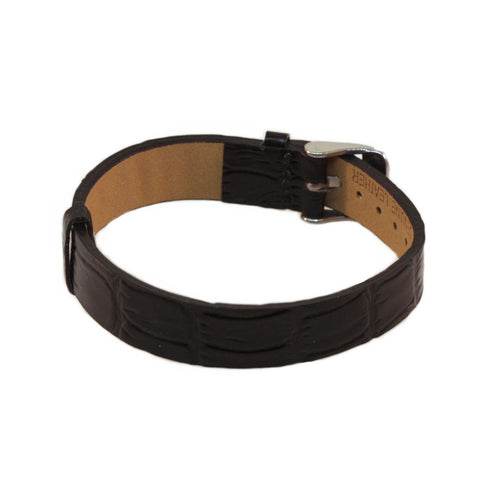 Black Leather Strap Bracelet with Buckle